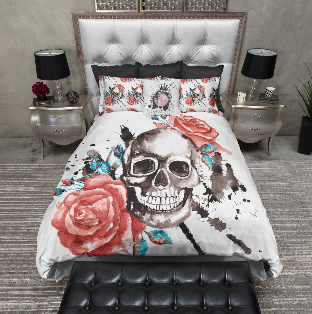 Red Roses with Turquoise Accents and Large Skull Duvet Bedding Sets