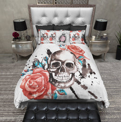 Red Roses with Turquoise Accents and Large Skull Bedding