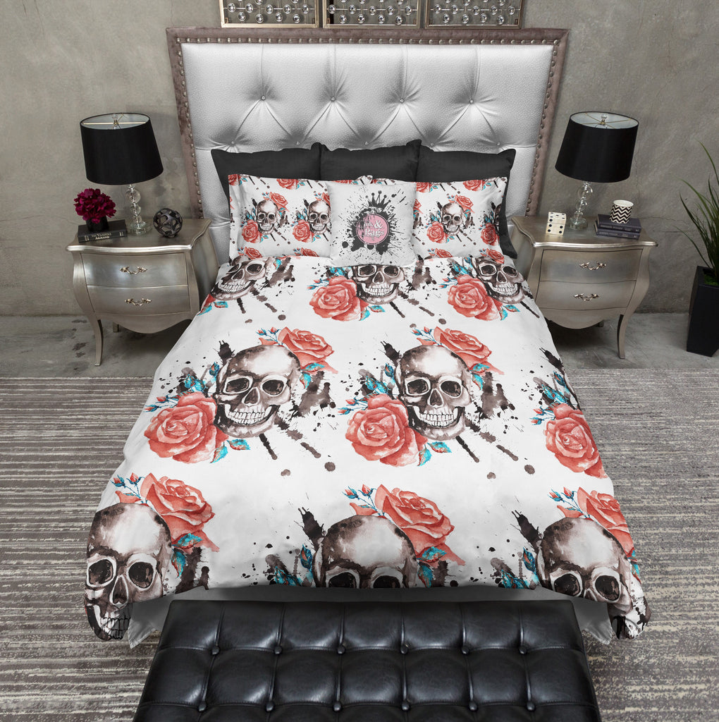 Red Roses with Turquoise Accents and Skulls Bedding