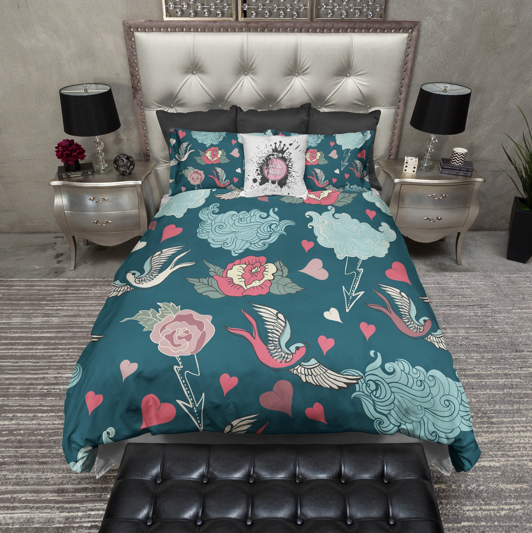 Light and Dark Teal Rockabilly Duvet Bedding Sets. Light and Dark Teal Rockabilly Duvet Bedding Sets   Ink and Rags