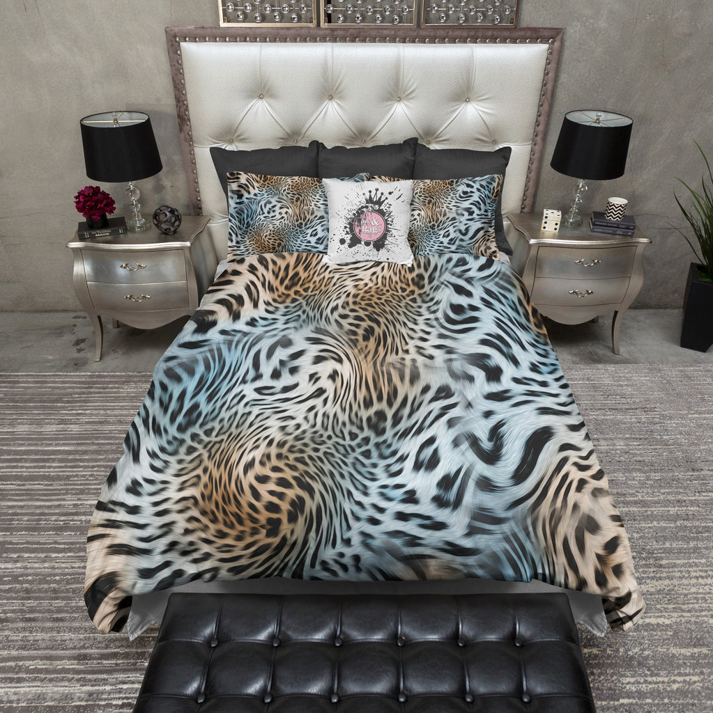 Turquoise and Gold Leopard Duvet Bedding Sets