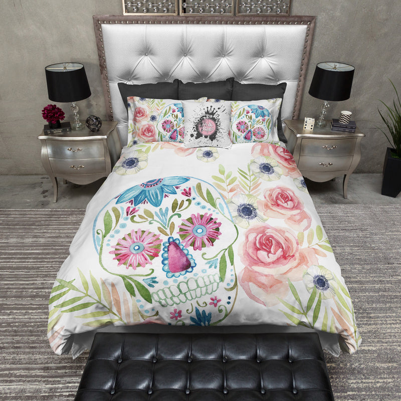 Spring Watercolor Sugar Skull and Flower Bedding