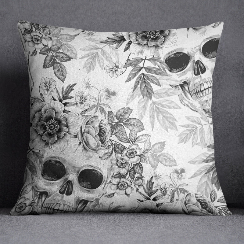Blackprint on White Floral Skull Decorative Throw and Pillow Cover Set