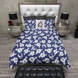 Blue Hawaiian Skull Bedding