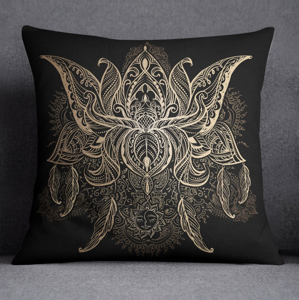 Boho Mehndi Lotus Blossom Flower Decorative Throw Pillow Cover