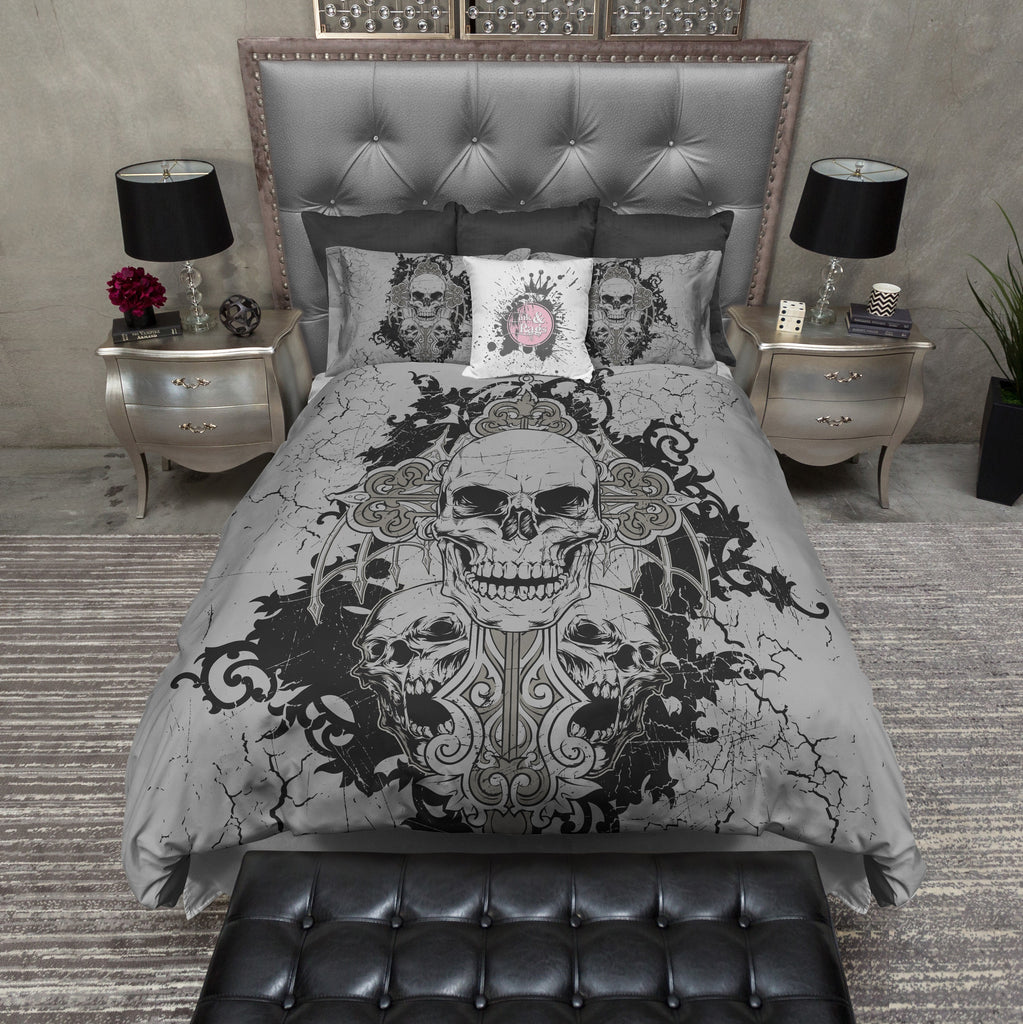 Cross and Three Skull Duvet Bedding Sets