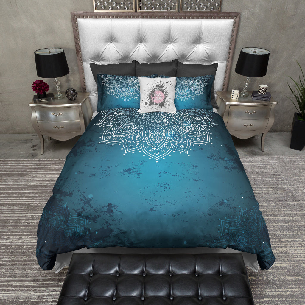Distressed Blue Half Mandala Bedding Collection