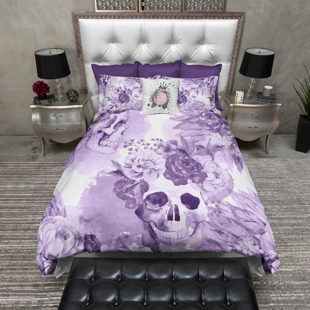 Purple Watercolor Native American Indian Headdress Floral Skull Bedding