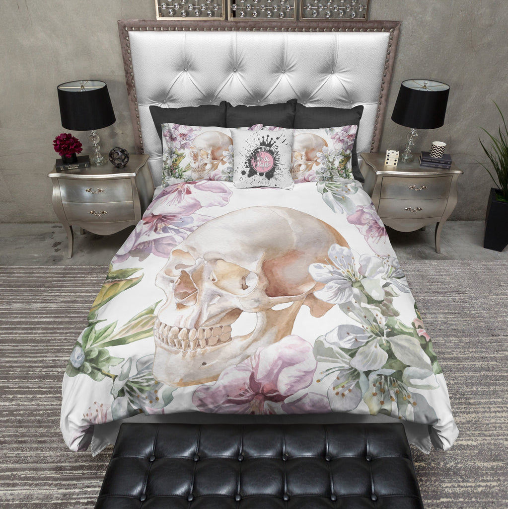 White Floral Rose and Skull Bedding Collection