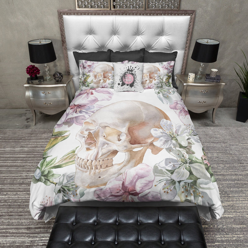 White Floral Rose and Skull Bedding