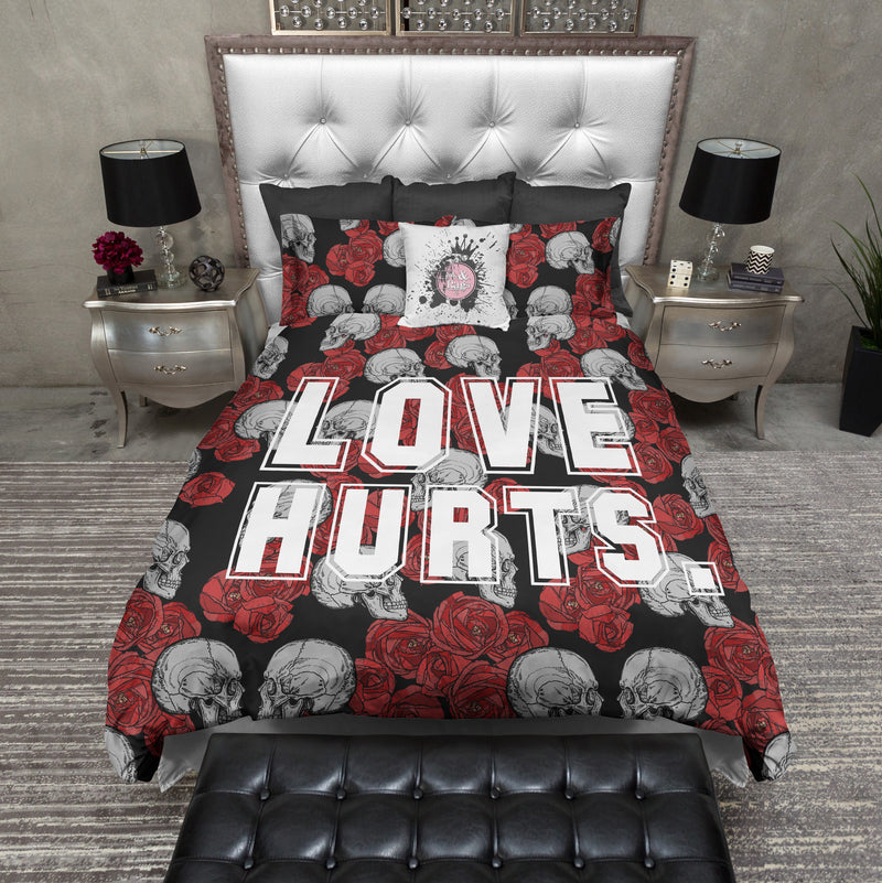 Love Hurts Red Rose and Skull Bedding