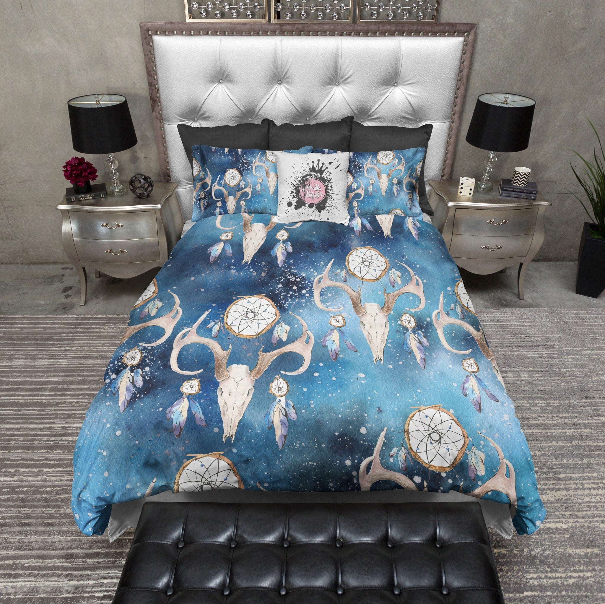 gypsy skull and boho dreamcatcher duvet and bedding sets - ink and
