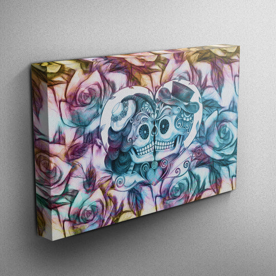 Kissing Sugar Skull Couple Purple, Gold and Teal Skull Gallery Wrapped Canvas