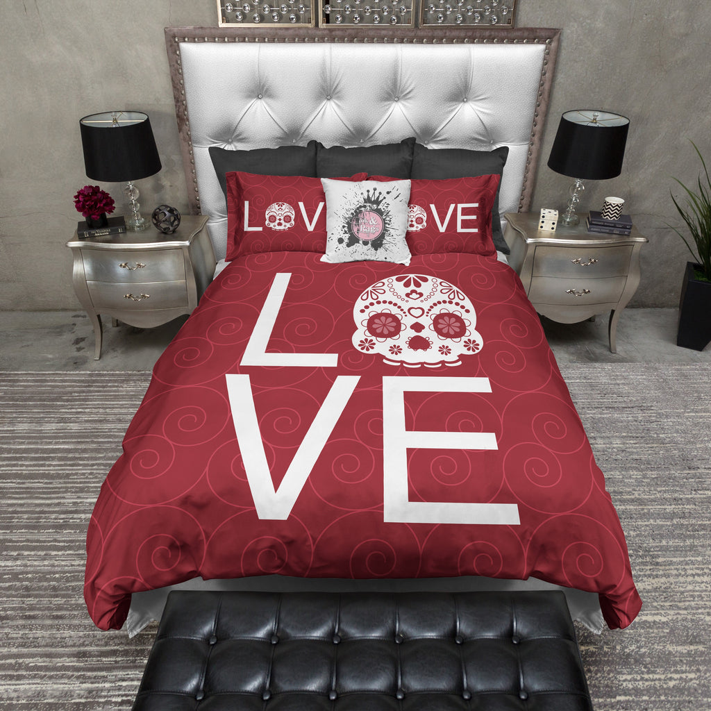 LOVE Red Sugar Skull Bedding
