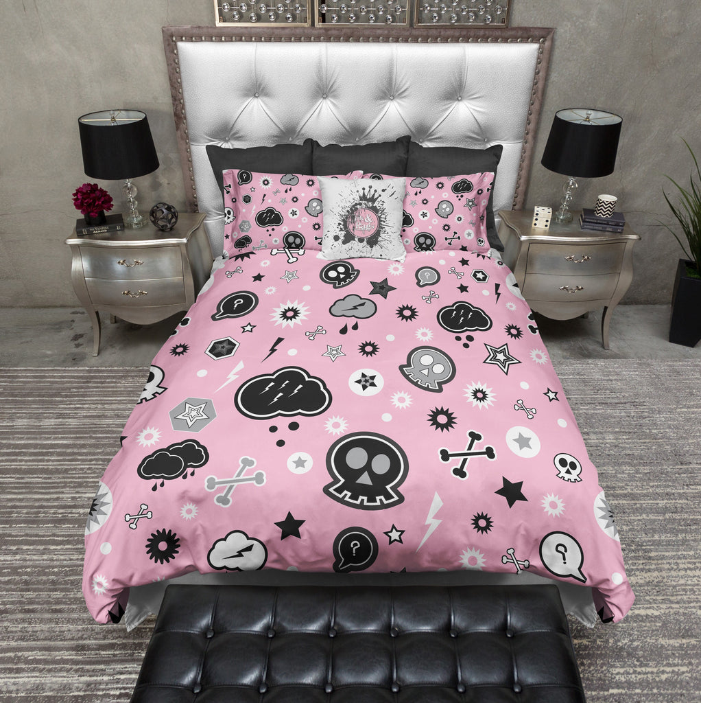Pink Cartoon Skulls Emo Kids Duvet Bedding Sets