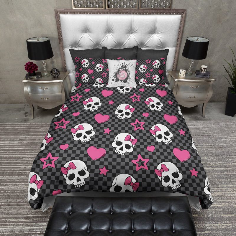 Checker Board Candy Skulls with Hot Pink Bows Bedding