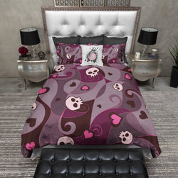 Swirls Skulls and Heart Bedding