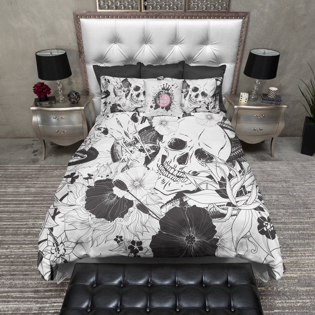 Striking Black and White Skull Duvet Bedding Sets