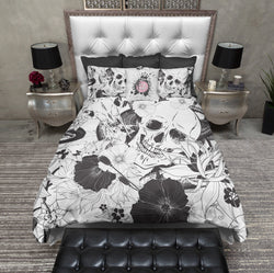 Striking Black and White Skull Bedding