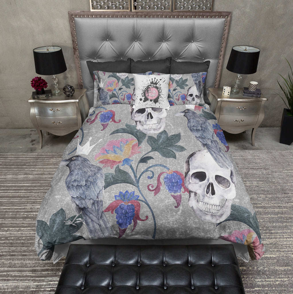 Grey Crowned Crow and Floral Skull Bedding Collection