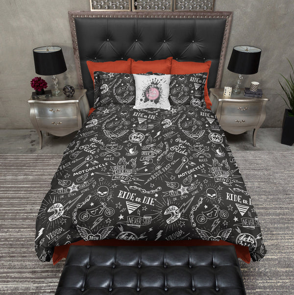 Ride or die motorcycle tattoo skull duvet bedding sets for Tattoo bedding queen