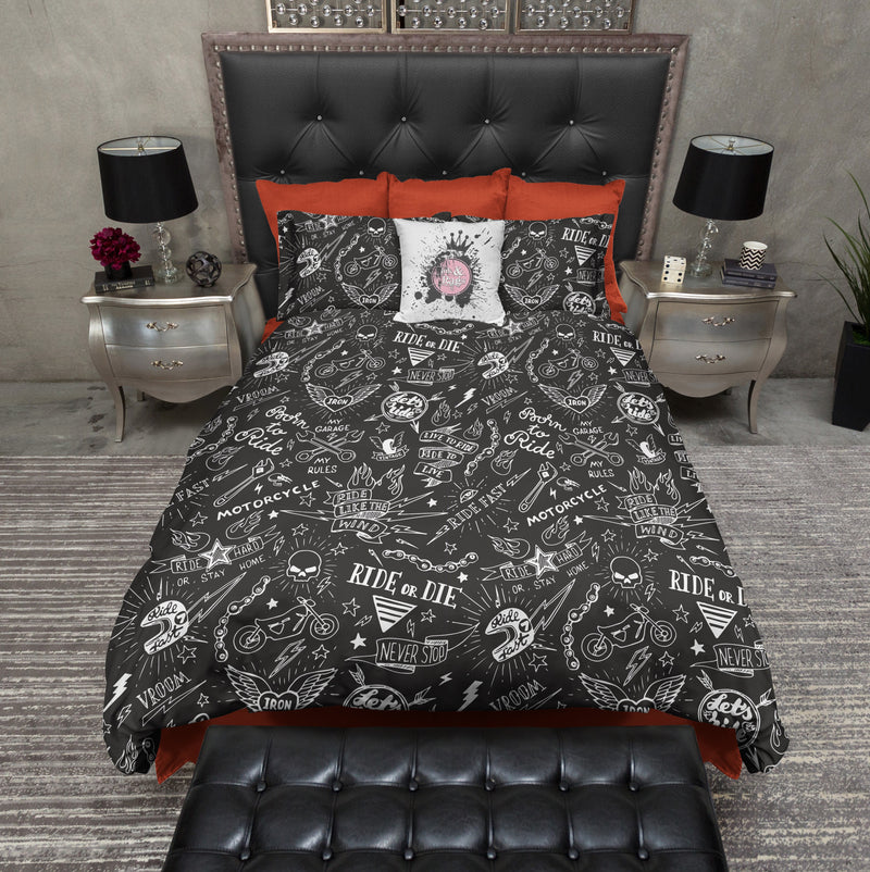 Ride or Die Motorcycle Tattoo Skull Bedding