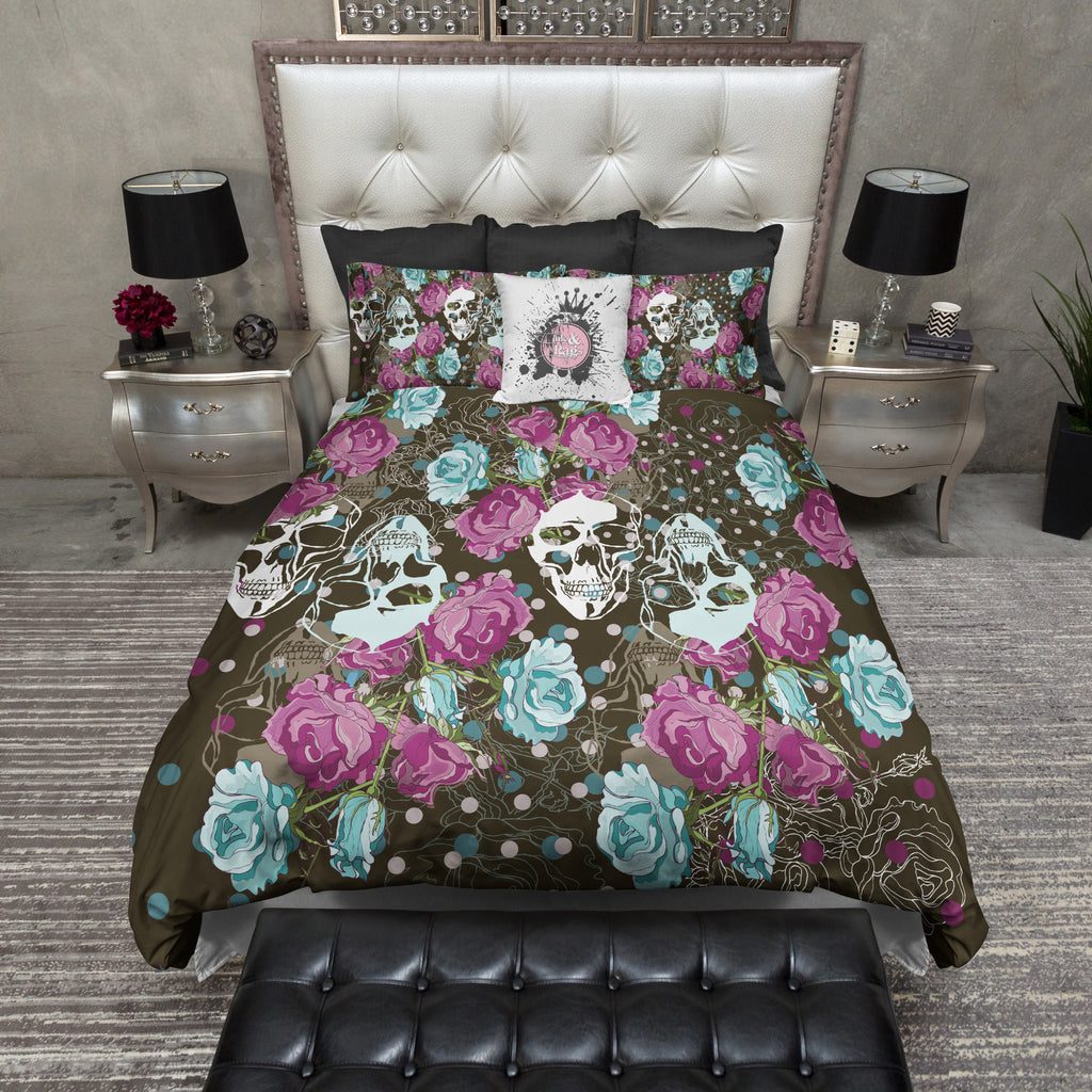 Polka Dot and Rose Skull Bedding