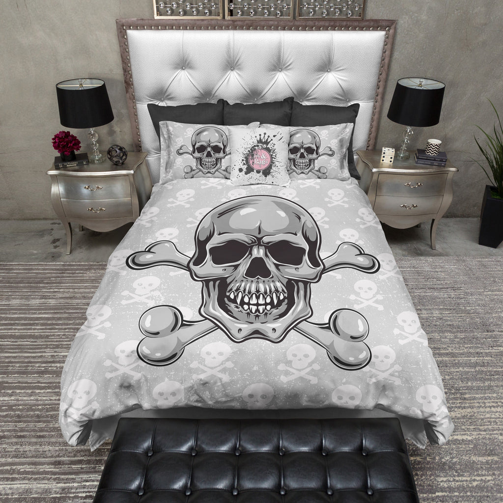 Grey Skull and Crossbone Bedding Collection