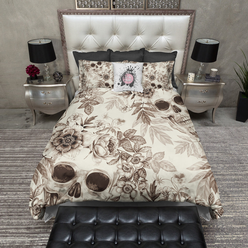 Sepia and Cream Skull Duvet Bedding Sets