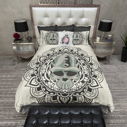 Tribal Flower and Camo Skull Bedding CREAM