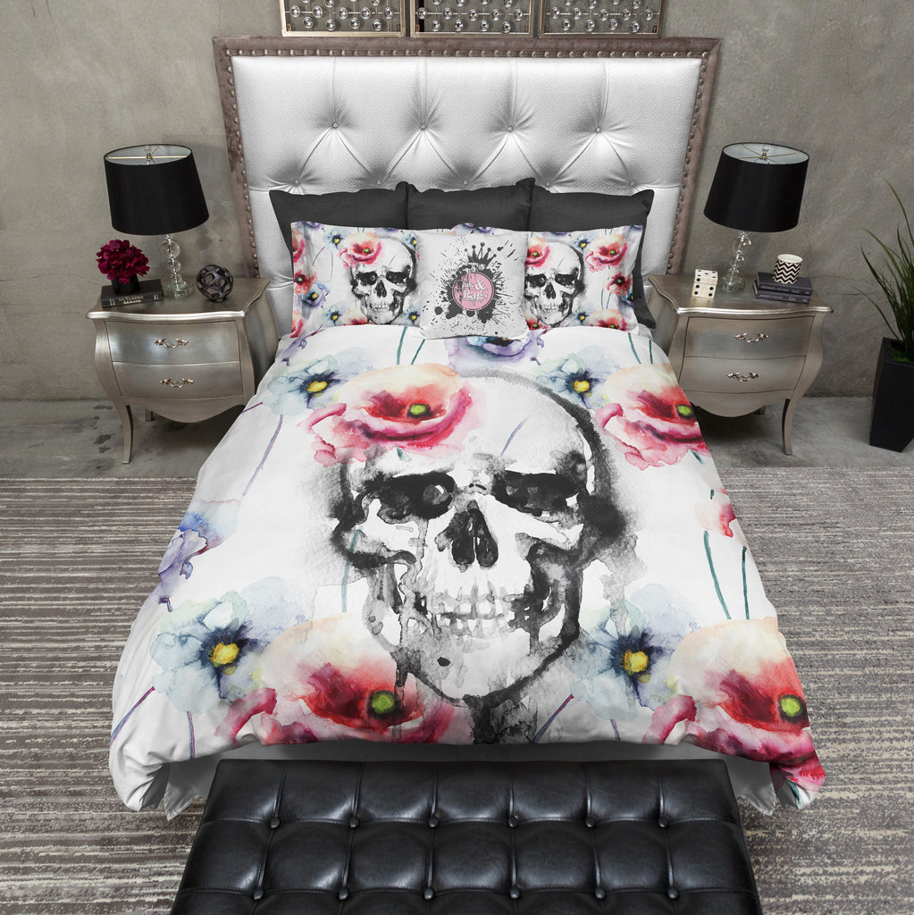 Watercolor Poppy and Skull Bedding