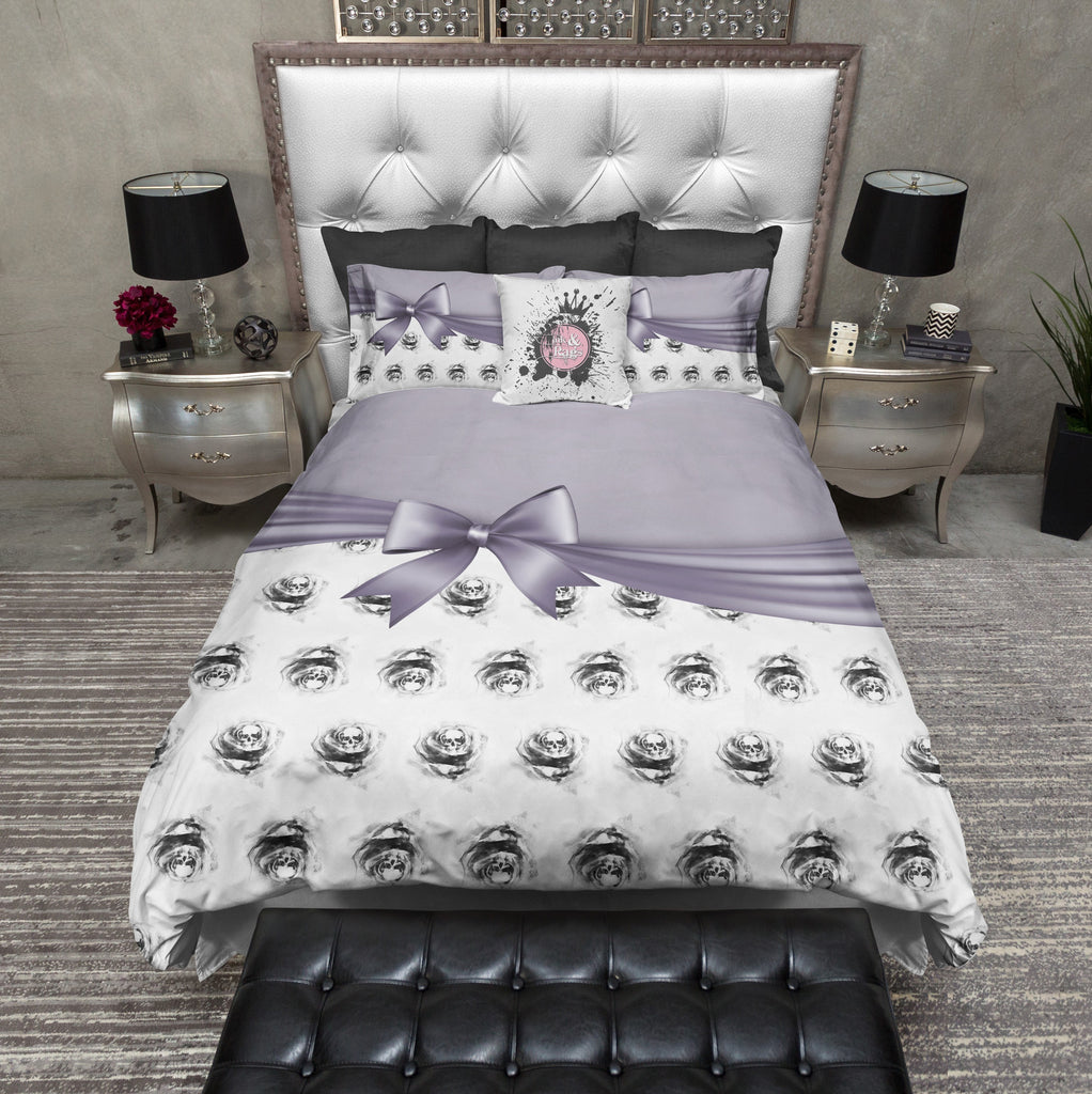 Lavender Bow and Skull Rose Bedding Collection