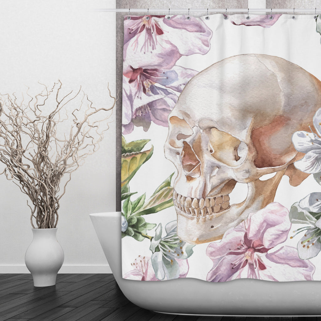 Pink and White Watercolor Flower Skull Shower Curtains and Optional Bath Mats