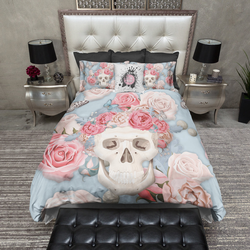 3D Powder Blue and Pink Rose Butterfly Skull Bedding