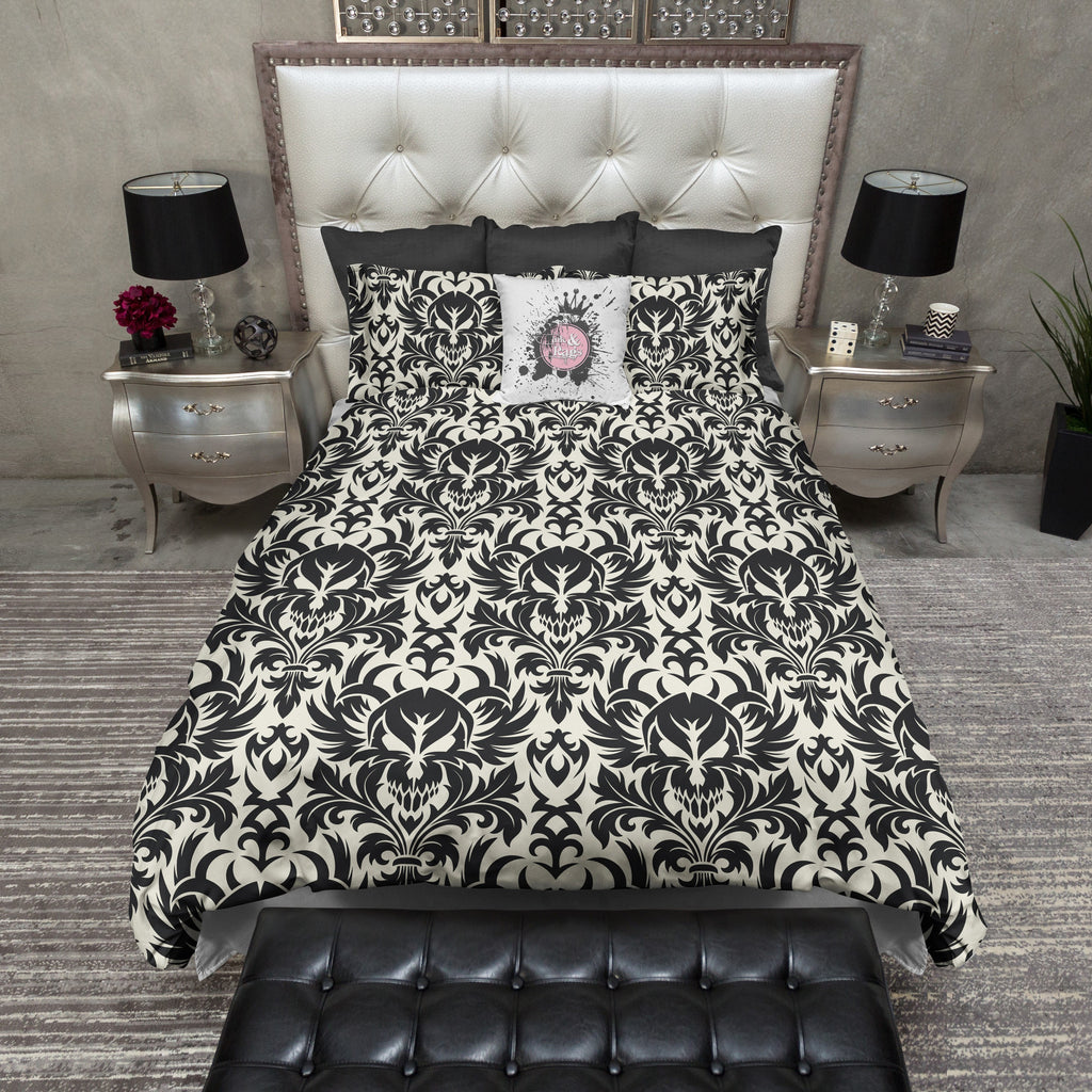 Black and Cream Damask Skull Duvet Bedding Sets