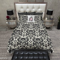 Black Damask Skull Bedding CREAM