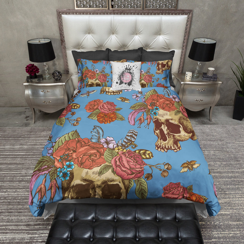 Colorful Blue Skull with Flower and Feather Crown Duvet Bedding Sets