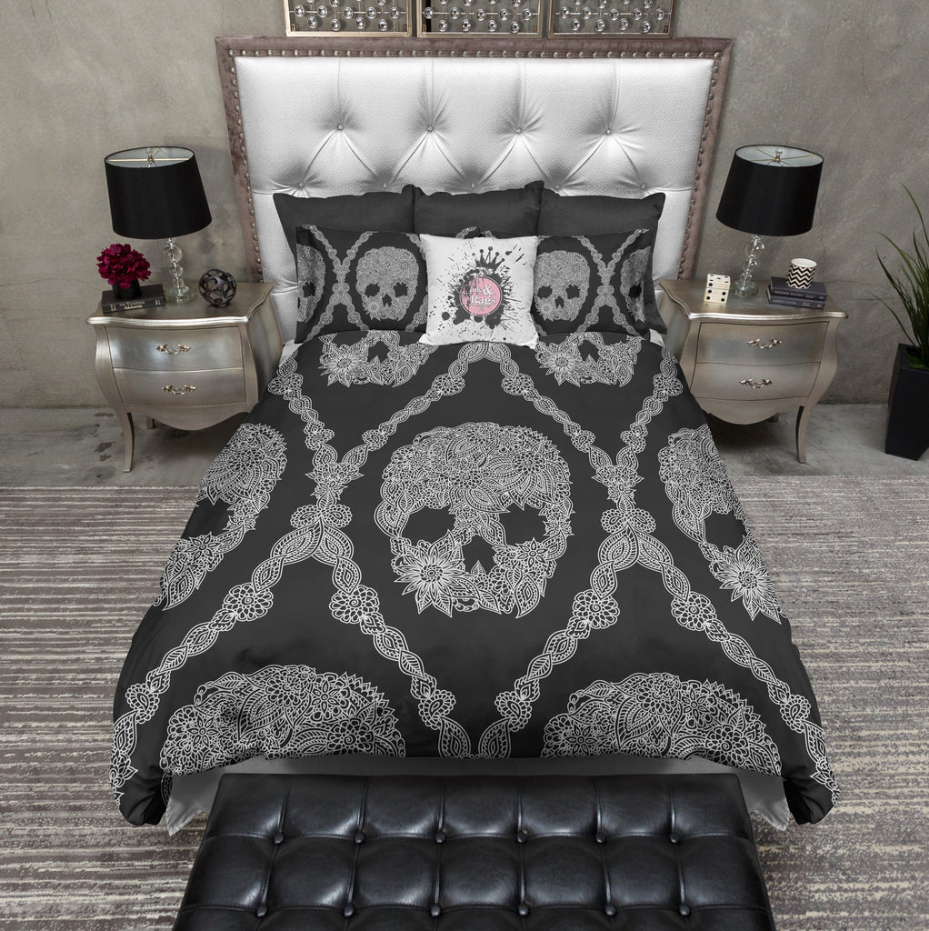 Black and White Lace Skull Bedding