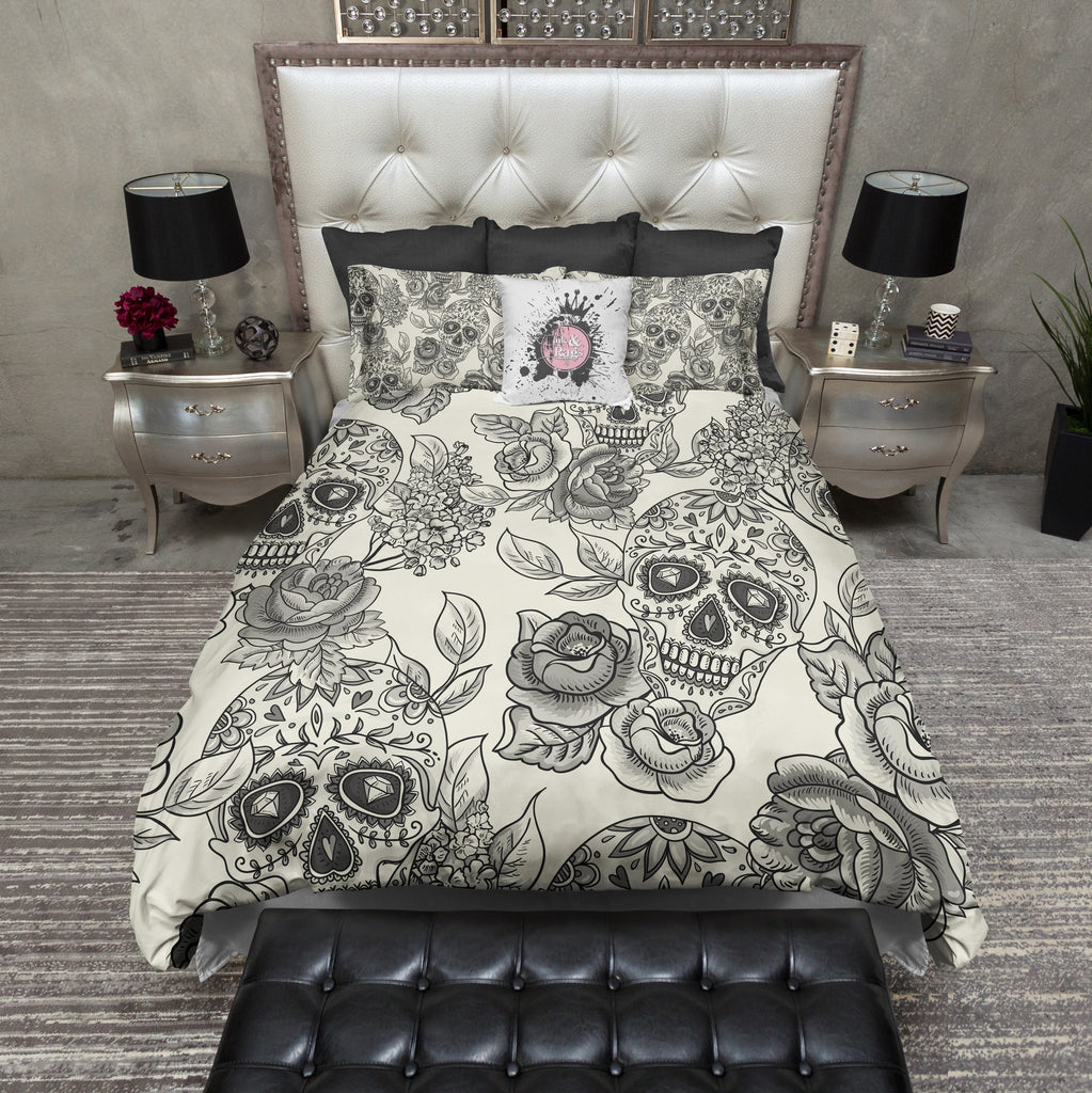 Signature Cream Sugar Skull Duvet Bedding Sets