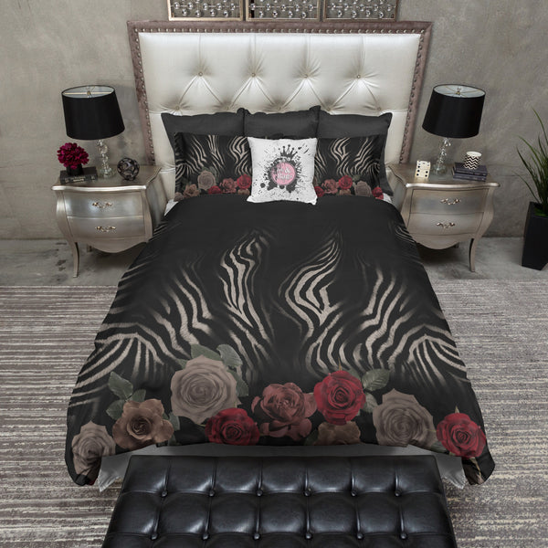 Zebra Rose Animal Print Duvet Bedding Sets Ink And Rags
