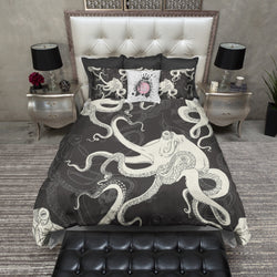 Cream and Black Octopus Bedding CREAM