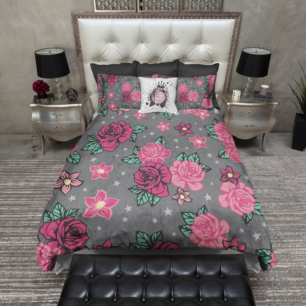 Rockabilly Star and Rose Duvet Bedding Sets