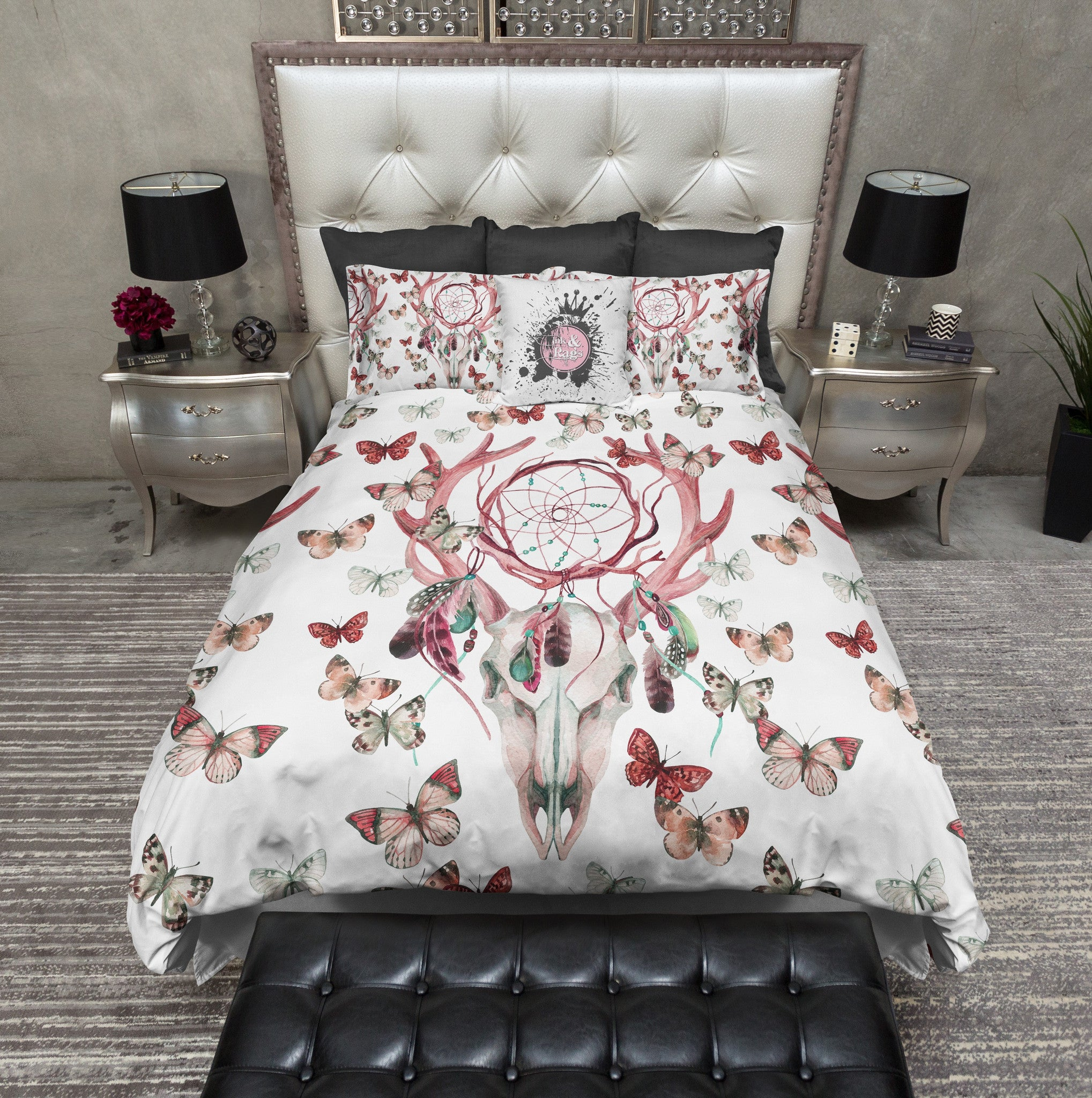 red dreamcatcher butterfly buck deer skull duvet bedding sets