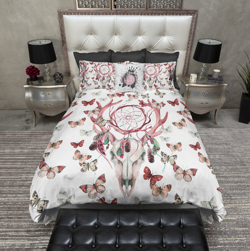Red Dreamcatcher Butterfly Buck Deer Skull Bedding