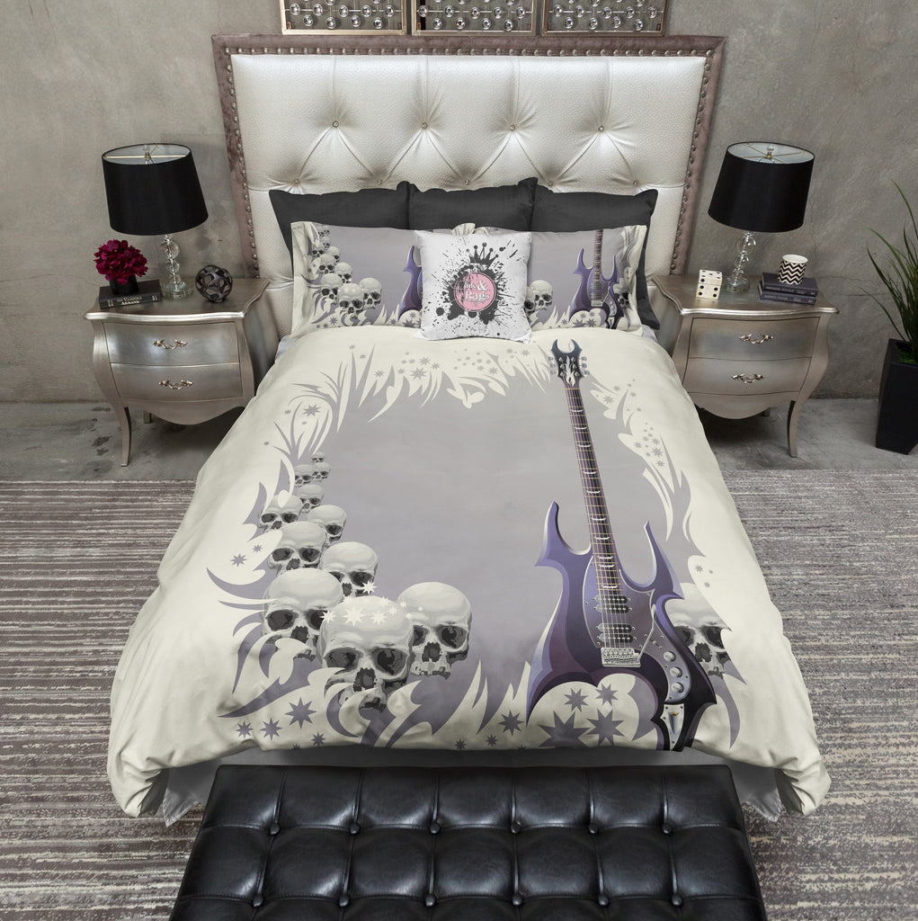 Purple Rock Guitar Skull Bedding CREAM