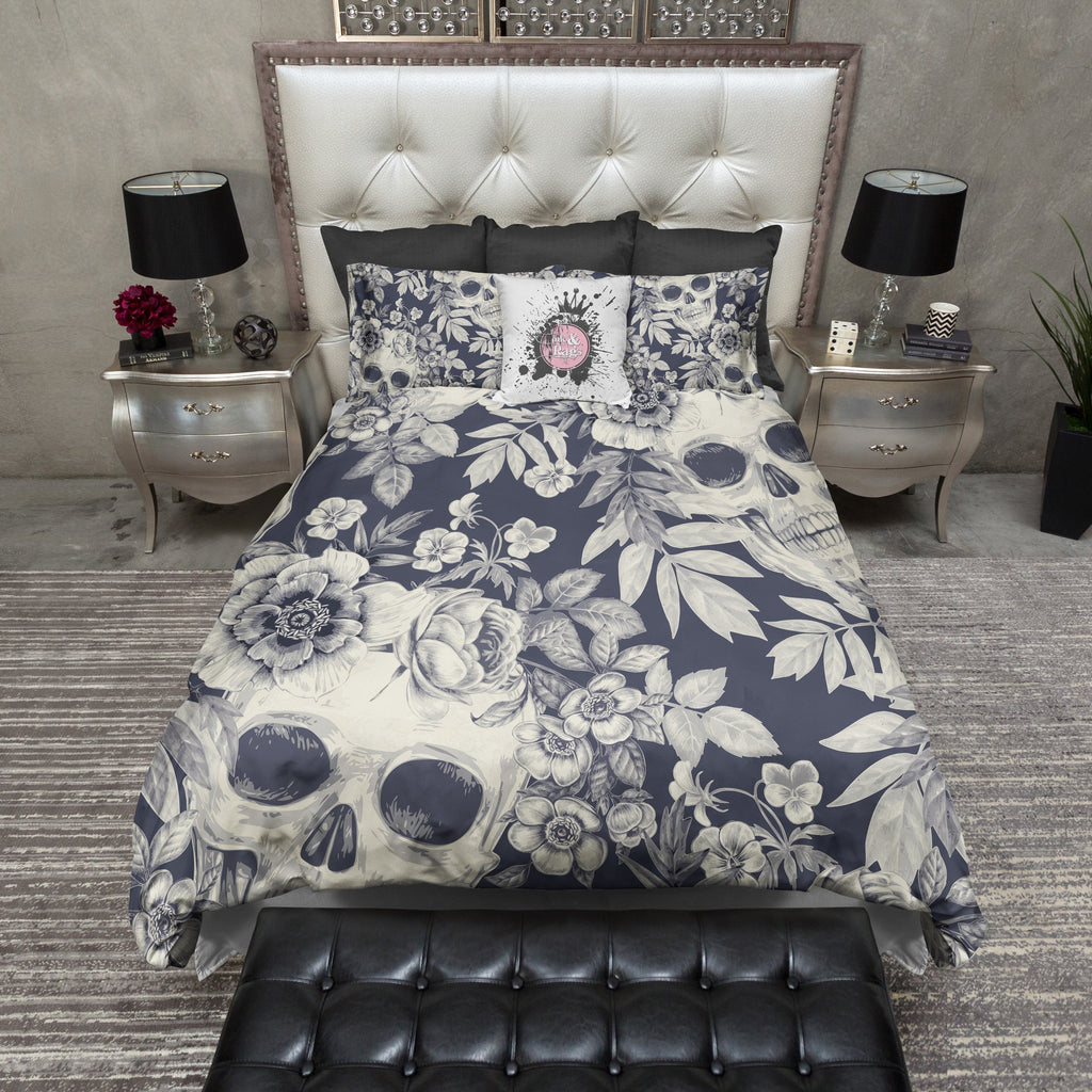 Cream and Blueprint Skull Duvet Bedding Sets