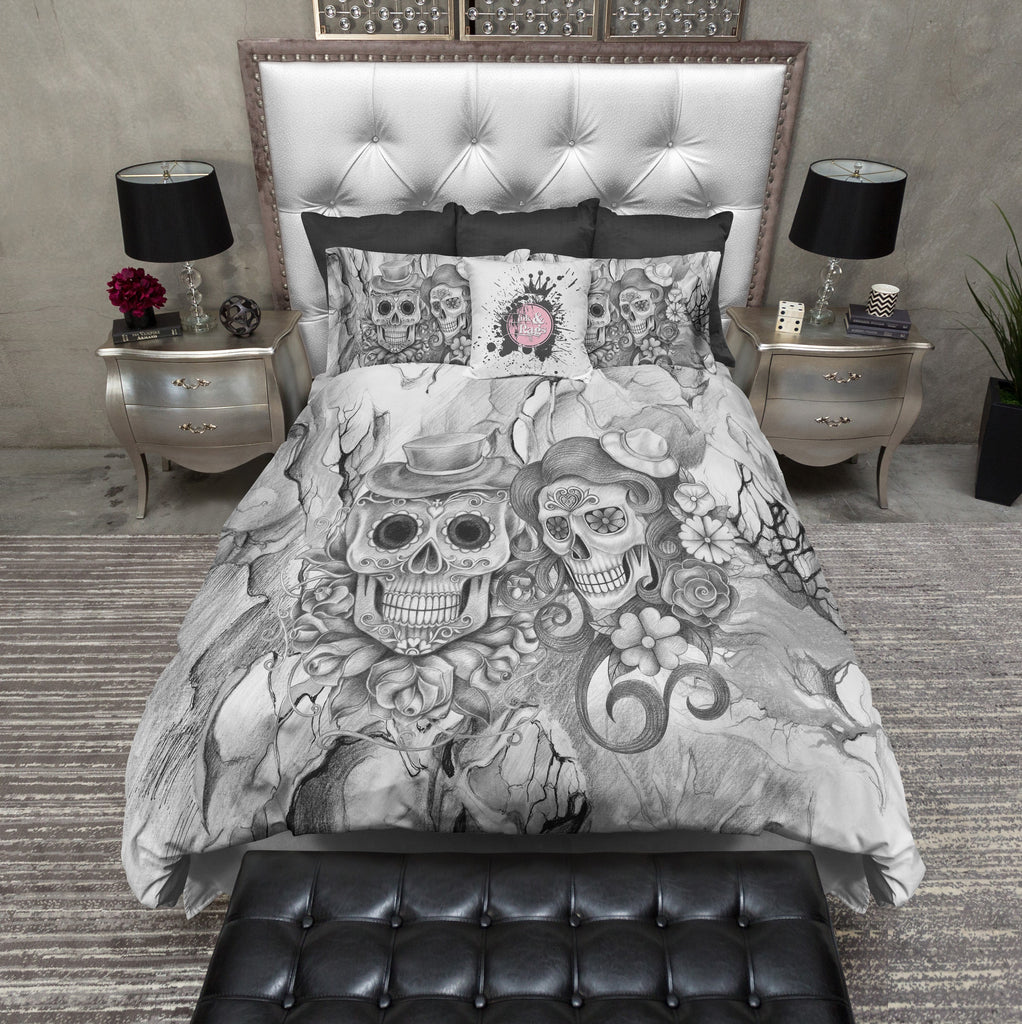Abstract Grey Pencil Sketch Flower and Sugar Skull Bedding