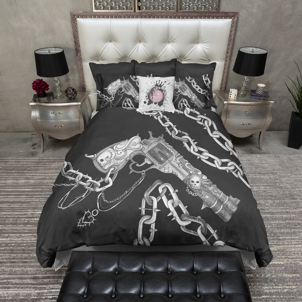 Hand Sketched Gun Chain and Skull Duvet Bedding Sets
