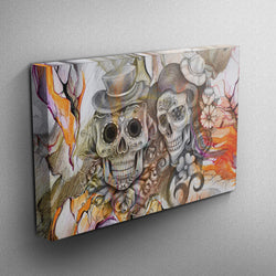 Orange Pencil Sketch Skull Couple Skull Gallery Wrapped Canvas