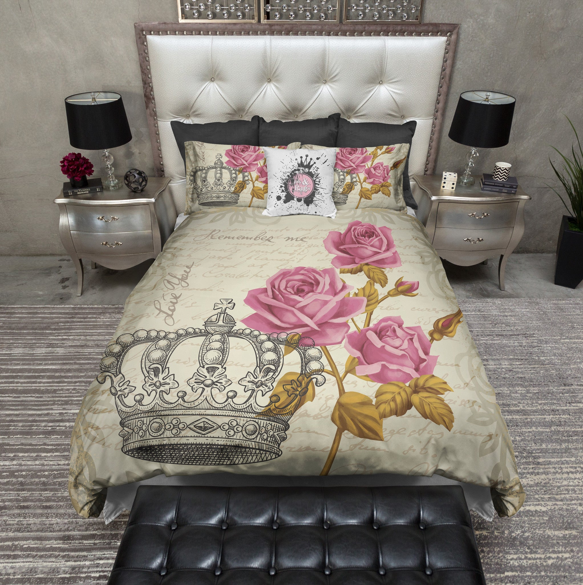 Vintage Style Crown Rose Bedding Cream Ink And Rags